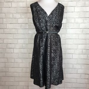 Lane Bryant Size 18 Metallic Floral Dress w/ Belt